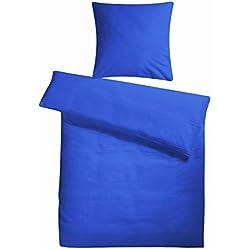 Carpe Sonno bügelfreie extra softe Seersucker Bettwäsche Marine Blau Uni 135 x 200 cm - Kühle Sommer Bett-Bezüge ohne Muster aus 100% gekämmter Baumwolle - Modern einfarbig Bettwaren-Garnitur