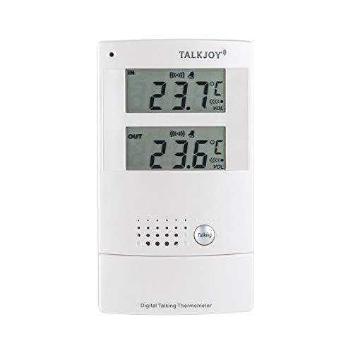 PROFI Sprechendes Innen- und Außenthermometer Frostwarner Hitzewarner Raum Thermometer Temperatur messen Sprachknopf Blinde Blindenthermometer Wetterstation (Deutsche Sprachausgabe) -