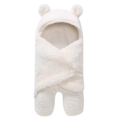 Urik 0-1 Jahre Kleinkind Schlafsäcke Kind Hoodie Lamm Decken Neugeborenes Baby Bademantel Weich Warm Baby Kapuzentuch Handtuch Duschtuch 55x29cm
