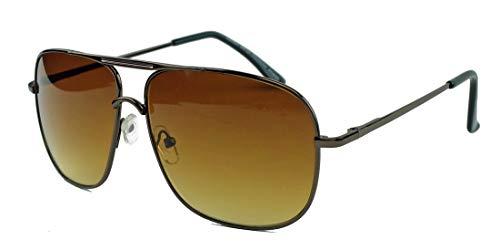 amashades Vintage Classics super Old School Brille 80er Jahre Brillengestell Square Metal Pilotenbrille Sonnenbrille oder Nerdbrille Klarglas F20 (Copper/Braun)