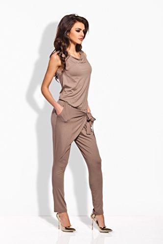 Lemoniade stylischer Jumpsuit ohne Ärmel mit elegantem Wasserfallkragen und ausgefallener Schnürung an der Hüfte Cappuccino
