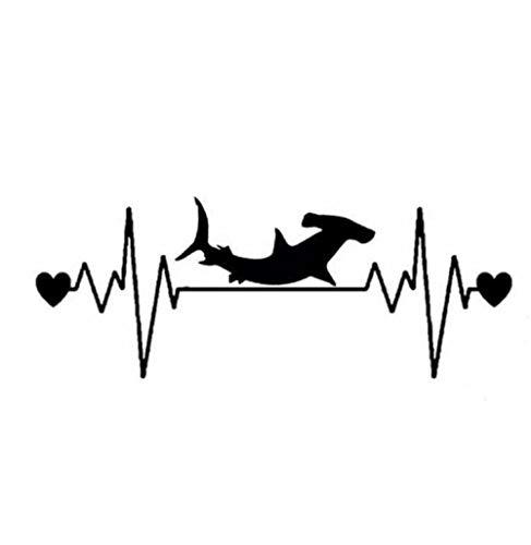 YOUYOUY 2Pcs Autoaufkleber 16.7Cm*7.1Cm Fashion Hammerhead Shark Heartbeat Lifeline Vinyl