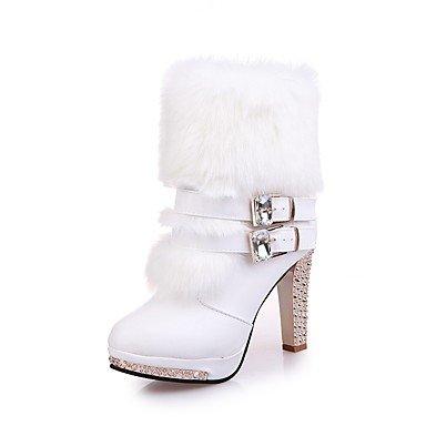 Frauen Baumwolle warme Schuhe mit hohen Absätzen Schnee im Winter Stiefel, weiß, EU/US5.5 36/UK3.5/CN