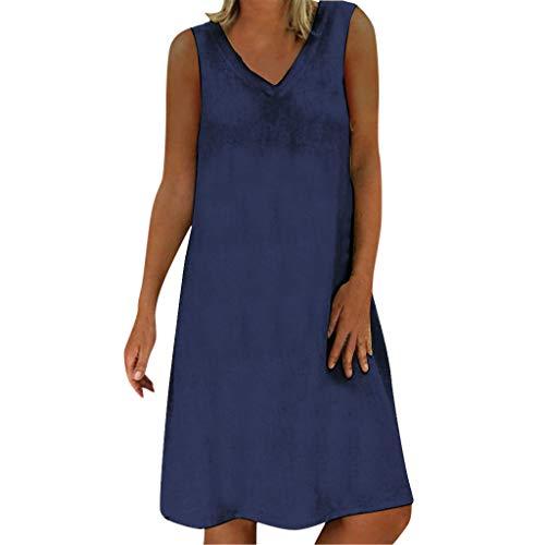 LOPILY Damen Sommekleid Große Größen Tunika Ärmellos Kleid mit V-Ausschnitt Knielang Kleid Übergrößen Casual Kleid Atmungsaktives Leinen Strandkleid bis 5XL (Marineblau, EU-38/CN-L)