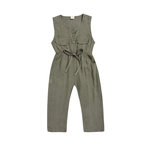 Sleeveless Overalls Bekleidung Pwtchenty Volltonfarbe Doppelte Tasche Bodysuit Ouvert Hosen Top Sets Kleidung Baby MäDchen Sommer