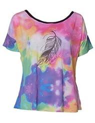 T-Shirt Femme Yoga, Fitness & Danse Plume Violet - Caju Brasil
