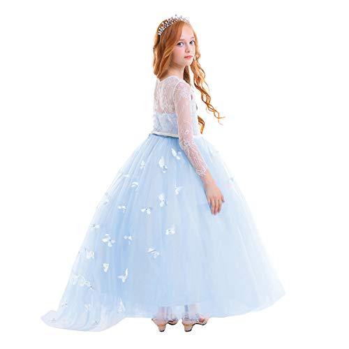 Vestito elegante da ragazza festa matrimonio damigella donna sposa cerimonia prima comunione battesimo carnevale ballerina abiti #11 blu 12-13 anni