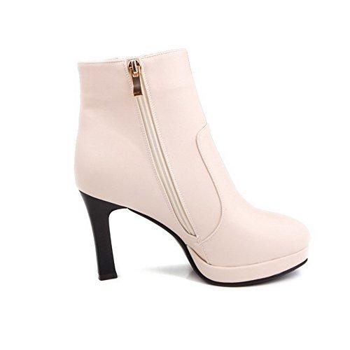 AgooLar Damen Lackleder Reißverschluss Mittler Absatz Niedrig-Spitze Stiefel, Cremefarben, 39