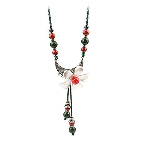 Femme Céramique Collier Créatif Rétro Longue étape Des Fleurs La Chaîne Des Chaînes Vert,Green-L
