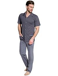 24c628d93c Taro Herren Schlafanzug Kariert zweiteiliger Pyjama aus Baumwolle  Nachtwäsche Kurzarm Shirt mit Lange Hose Größe M L