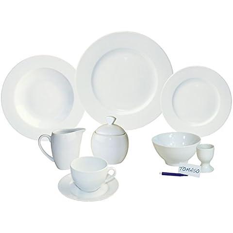 ARTE VIVA 14795 - Juego de café y vajilla de porcelana MASSIMO PIU, 51 piezas, redondo, color blanco, design I