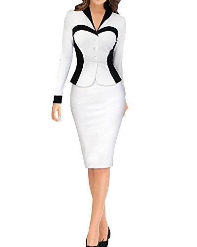Saideng donne elegante a-line vestito ol professionale vestito elegante ginocchio lunghezza vestito un pezzo bianco xl