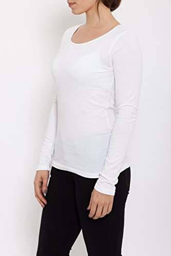 BLUE MONKEY Basic T-Shirt oil washed Damen Rundhals Langarm Casualmode 110018 Weiß
