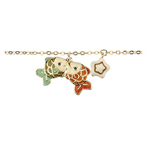 Thun ® - bracciale segno zodiacale pesci - placcato in oro con ciondolo in ceramica -16 cm (+2 cm)