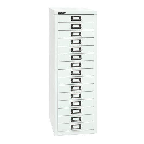 Bisley MultiDrawer, 39er Serie, DIN A4, 15 Schubladen, Metall, 696 Verkehrsweiß, 38 x 27.9 x 86 cm