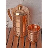 Ikon 100% Pure Copper Plain Lining Style Jug & One Glass with Lid for Storage & Serving Water in Home & Hotel Restaurant Beneficial for Health