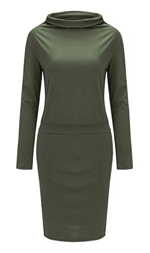 Smile YKK Femme Slim Col Haut Robe à Manche Longue Hanche Jupe Soirée Vert d'armée