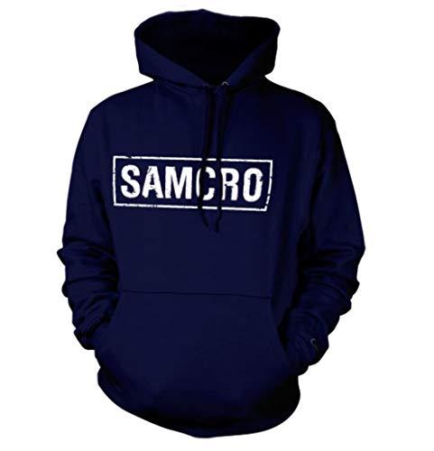 SAMCRO Distressed Kapuzenpullover (Marineblau), Large Anarchy Hoodie