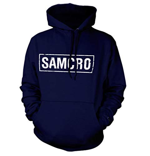 SAMCRO Distressed Kapuzenpullover (Marineblau), Large (Sons Of Anarchy Hoodie-pullover)