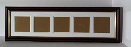 5 x SQUARES double mounted photograph frame - ice white top mount, super white bottom mount with wood effect frame with gold inlay by Create-a-pix word frames - Bottom Mount