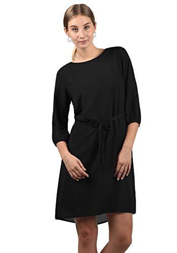 BlendShe Beate Damen Blusenkleid Lange Bluse Kleid Mit Rundhalsausschnitt, Größe:XL, Farbe:Black (20100)