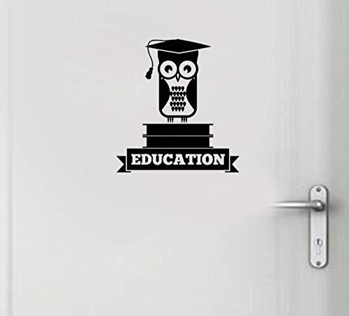 Wandaufkleber Bildung Eule Bücher Schule Universität Hochschule Aufkleber Wandaufkleber Kinderzimmer Tür Dekor Kunst Aufkleber 23,6 * 23,6 Cm -
