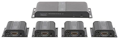 DIGITUS Professional DS-55303 - HDMI Extender/Splitter Set (4 Empfänger) - 1 lokaler Monitor - bis zu 40 m Reichweite - PoE-fähig - Patchkabel (Cat 6/6A/7) - schwarz Display Poe Pc
