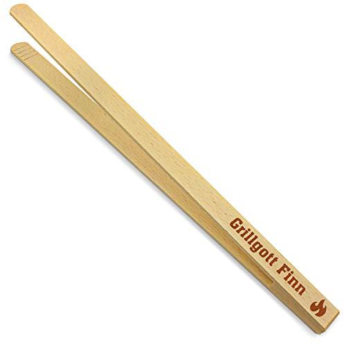 printplanet® - Holz Grillzange mit Grillgott Finn - graviert - Gravierte Holzgrillzange mit Namen - 40 cm Länge