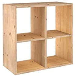 Europe & Nature etagere 2x2 Cubes, Bois, 70.8 x 33 x 70.8 cm