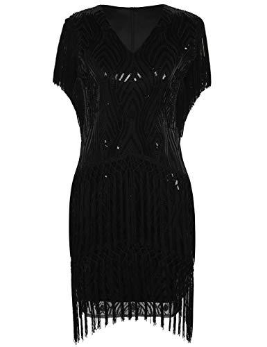 Schwarze Damen Kostüm Kleid Flapper Fransen - PrettyGuide Damen Flapper Kleid Pailletten Quaste Ärmel Vintage Cocktailkleid S Schwarz