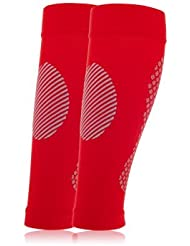 Manchon de compression mollet Full Force, sans pied, couleur rouge
