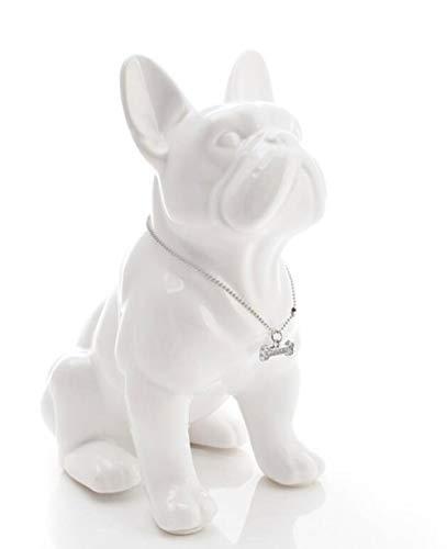 LDCP Keramik Französische Bulldogge Hund Statue Wohnkultur Handwerk Raumdekoration Objekte Ornament Porzellan Tierfigur Gartendekoration, Weiß, L -