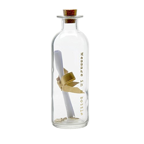 Botella de cristal con grabado «Message in a bottle» en dorado. Escr