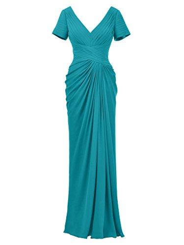 Alicepub Mutter der Braut Kleid Chiffon Lange Formelle Kleider Abendkleider, Türkis, 48 (Türkis Der Mutter Kleid Braut)