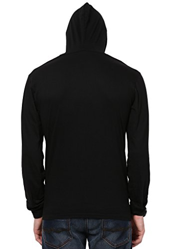 Katso Men's Cotton Hooded T-Shirt (Katso-Hood-Full-Black-M)