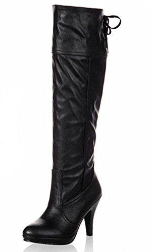 Padgene Damen Langschaft Stiefel Vintage Schnürung Stiefelletten Schwarz