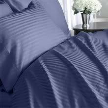 Thread Count Solide Bettdecke (1200-thread-count Ägyptische Baumwolle Bettbezug und 2Kissenbezüge, Full/Queen, Marineblau Damast Streifen 1200TC)