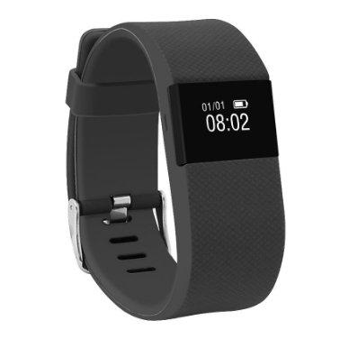 morefit Herzfrequenz Monitor Fitness Tracker, Wireless Bluetooth Smart Watch Gesunde Armband für Weihnachten Geschenke, H4 Black