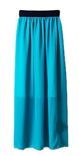Honeystore 20 Farben Röcke Damen Korean Stil Boho Plissee Maxi Rock Elastisch Bund Tanz-Kleid Chiffon Rock Lang Blau