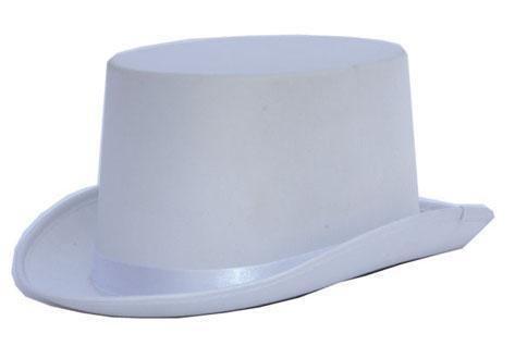 Weißer Satin Hut für Herren Zylinder Halloween, Karneval, Fasching