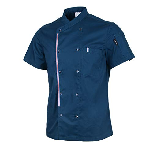 P Prettyia Atmunngsaktiv Kochjakce Bäckerjacke mit Druckknöpfe Kochbekleidung Arbeitskleidung Berufsbekleidung Arbeitsjacke für Gastronomie - Blau, M - 6