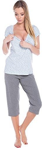 Italian Fashion IF Allaitement Pyjama Femme Cindi Mama 0225 Bleu/Melange