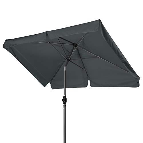 Rechteckiger Sonnenschirm (Derby Basic Lift NEO 210x140 - Kurbel Sonnenschirm ideal für den Balkon - Höhenverstellbar - ca. 210x140 cm - Anthrazit)