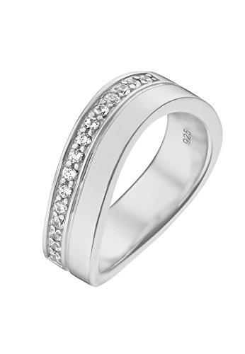 JETTE Silver Damen-Ring Free Spirit 925er Silber 15 Zirkonia silber, 51 (16.2)