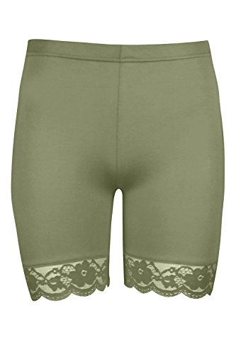 Oops Outlet Damen Dehnbar Spitzenrand Trikot Sport Gymming Fahrrad Hotpants Strumpfhose Shorts - Khaki, 48/50