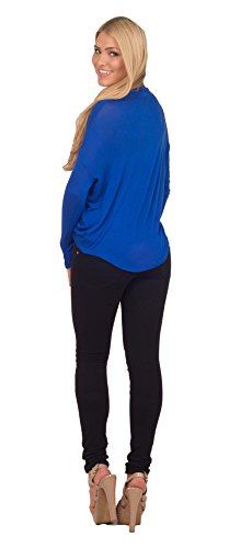 Sexy Jersey Top Blouse Junior Casual encolure en V manches longues ruché bleu brillant