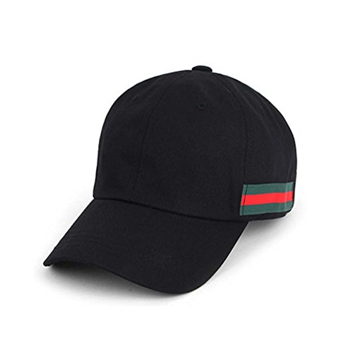 Fünfte Straße Unisex Baseballcap Kappe mit Streifen (A-Schwarz)