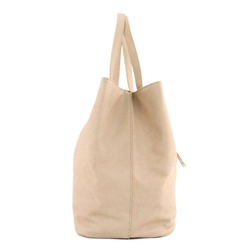 Damentasche Handtasche Schultertasche Shopper Lederimitat Kunstleder LK138102 Beige