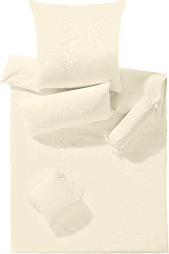Erwin Müller Bettwäsche Seersucker Creme Größe 135x200 cm (40x80 cm) - luftig leicht, atmungsaktiv, bügelfrei, mit Reißverschluss (weitere Farben, Größen) - Creme Seersucker