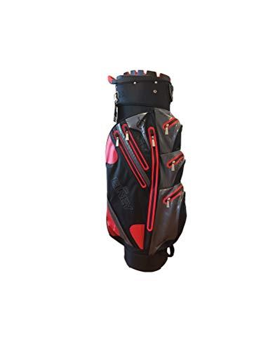 Elrey Aqua Sac de Golf Professionnel étanche 100% étanche, Black/Red/Grey